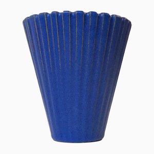 Jarrón danés de cerámica azul de Einar Johansen, años 60