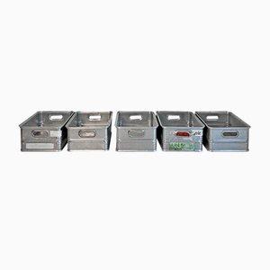 Cajas apilables de aluminio, años 70. Juego de 5