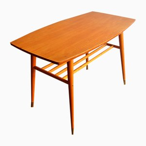 Mesa de centro vintage de teca y latón, años 50