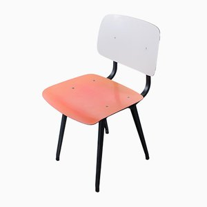 Mid-Century Salmon, Black, and White Dining Chair by Friso Kramer for Ahrend De Cirkel