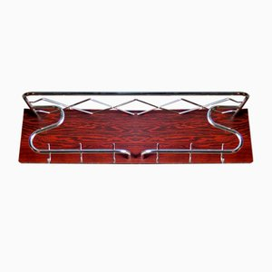 Art Deco Chrome and Rosewood Veneer Coat Rack, 1950s