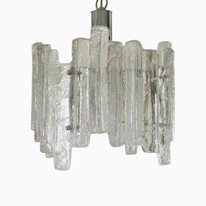 Lámpara de araña Mid-Century de cristal de hielo de Kalmar, años 60