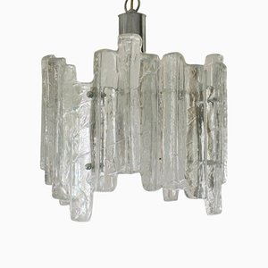 Mid-Century Ice Glass Chandelier from Kalmar, 1960s
