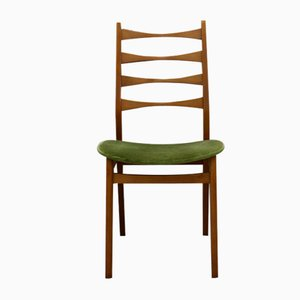 Teak and Green Velvet Dining Chair, 1960s