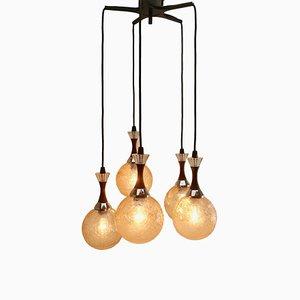 Lámpara de araña holandesa Mid-Century con 5 globos, años 60