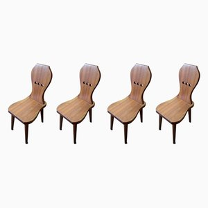 Vintage Swedish Pine Dining Chairs, Set of 4