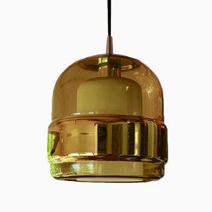 Lámpara de techo vintage de vidrio y lámina de cobre de Peill & Putzler