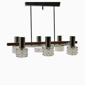 Lámpara de araña italiana vintage de cromo, vidrio y madera con seis brazos, años 60