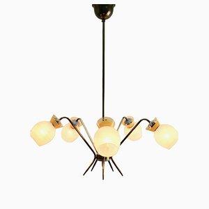 Lámpara de araña italiana vintage de 5 brazos, años 60