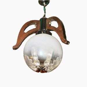 Lámpara colgante vintage en forma de globo de vidrio con incrustaciones naranjas de Mazzega, años 70