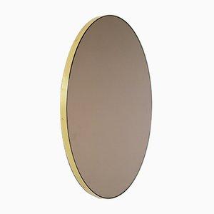 Runder bronzefarbener Orbis Spiegel mit Messingrahmen von Alguacil & Perkoff