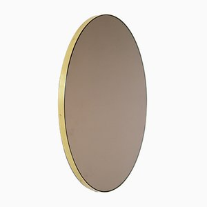 Small Bronze Tinted Orbis Round Mirror with Brass Frame by Alguacil & Perkoff