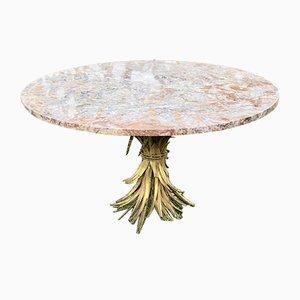 Vintage Tisch aus Blattgold, Eisen & Marmor mit Gestell in Weizenbündel-Optik, 1960er