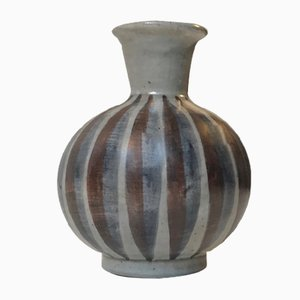 Vase en Céramique à Rayures par Eva & Johannes Andersen, Danemark, 1960s