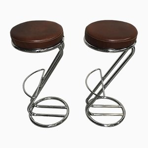 Sgabelli da bar vintage in pelle, set di 2