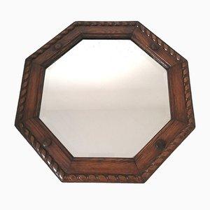 Specchio Art Deco vintage con cornice in quercia