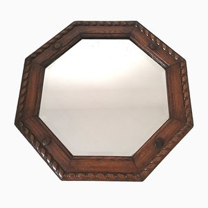 Vintage Art Deco Oak Framed Mirror