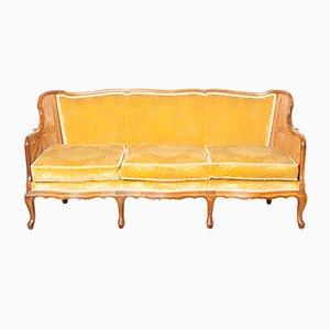 Koloniales Sofa mit Bezug aus Mohair & Samt, 1920er