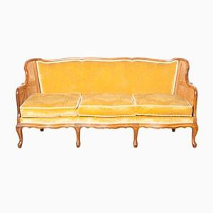 Mohair and Velvet Colonial Sofa, 1920s