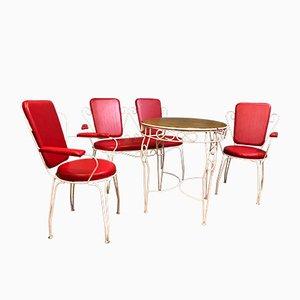 Mid-Century Gartenstühle, Bank & Tisch, 4er Set