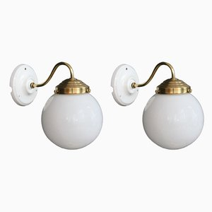 Vintage Brass, Porcelain and Opaline Glass Sconces, 1950s, Set of 2