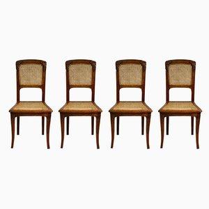 Antike französische Jugendstil Esszimmerstühle, 1910er, 4er Set