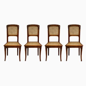 Antique Art Nouveau French Dining Chairs, 1910s, Set of 4