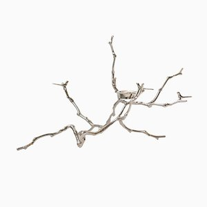 Tall Cast, Polished & Nickel-Plated Magnolia Twig T-Light Holder from The Design Foundry