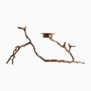 Langer Teelichthalter in Magnolienzweig-Optik aus Bronze von The Design Foundry