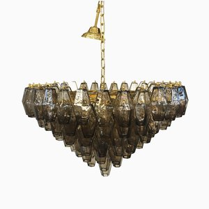 Grey Murano Glass Poliedro Chandelier from Italian light design