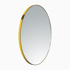 Small Minimalist Silver Orbis Wall Mirror with Yellow Frame by Alguacil & Perkoff