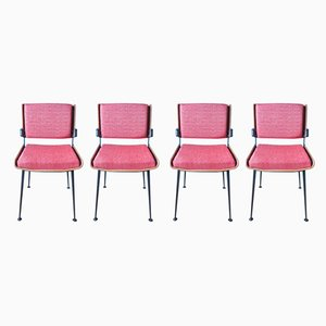 Red Dining Chairs by Alain Richard, 1960s, Set of 4