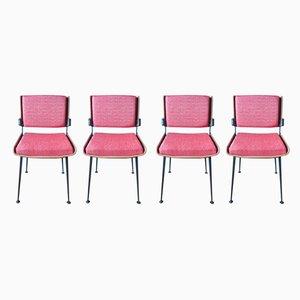 Rote Esszimmerstühle von Alain Richard, 1960er, 4er Set