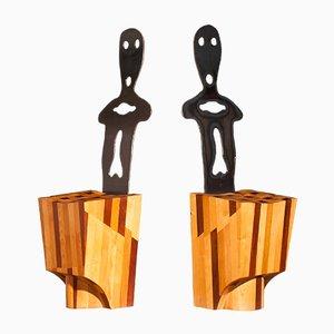 Sillas auxiliares de madera y metal, años 70. Juego de 2