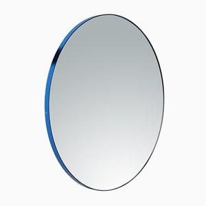 Mittelgroßer runder versilberter Orbis Spiegel mit blauem Rahmen von Alguacil & Perkoff