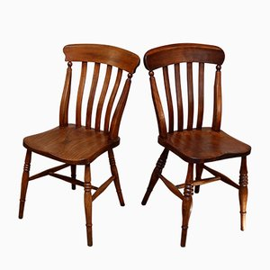 Antique Beech and Elm Dining Chairs, Set of 8