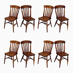 Antike Esszimmerstühle aus Buche & Ulmenholz, 8er Set