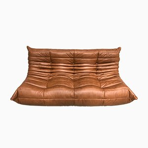 Dark Cognac Leather Togo Sofa by Michel Ducaroy for Ligne Roset, 1970s