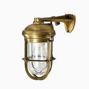 Vintage Schiffswandlampe aus Messing & Glas, 1950er