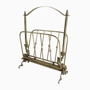 French Brass Magazine Rack from Maison Jansen, 1940s