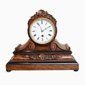 Antique Victorian Walnut Drumhead Mantel Clock