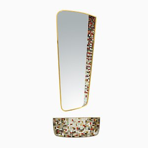 Mid-Century Modern Mosaic Wall Mirror with Shelf from Münchener Zierspiegel, 1950s