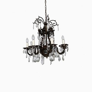 Large Antique French Cast Brass, Crystal & Glass Chandelier