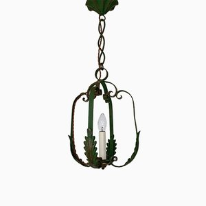Vintage Wrought Iron Ceiling Lamp, 1930s
