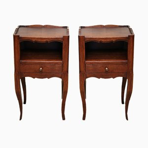 French Oak Night Stands, 1920s, Set of 2