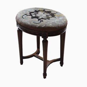 Oval Antique Walnut Embroidered Stool