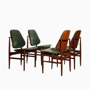 Sedie da pranzo in teak e velluto di Arne Vodder per France & Søn/France & Daverkosen, Danimarca, anni '50, set di 4