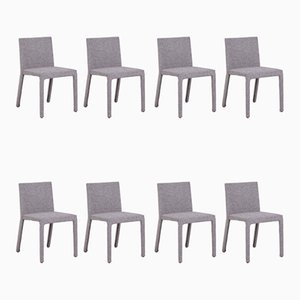 Sedie da pranzo in stoffa grigia di Carlo Colombo per Poliform, inizio XX secolo, set di 8