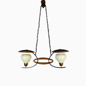 Mid-Century Copper & Glass Double Ceiling Lamp, 1960s