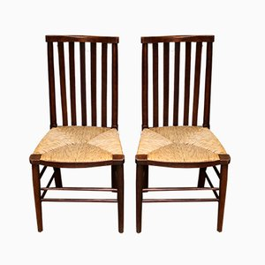 Antique Beech Dining Chairs, Set of 2